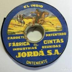 Antigüedades: CARRETE DE CINTA COLOR NEGRO EL INDIO - INDUSTRIAL REUNIDA JORDA . Lote 176574587