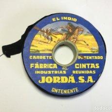 Antigüedades: CARRETE DE CINTA COLOR NEGRO EL INDIO - INDUSTRIAL REUNIDA JORDA . Lote 176574632