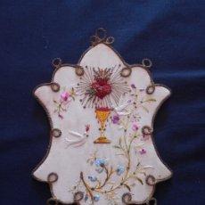 Antigüedades: ANTIGUO Y BONITO ESCAPULARIO BORDADO A MANO, MIDE 21 X 14 CMS.. Lote 176585120