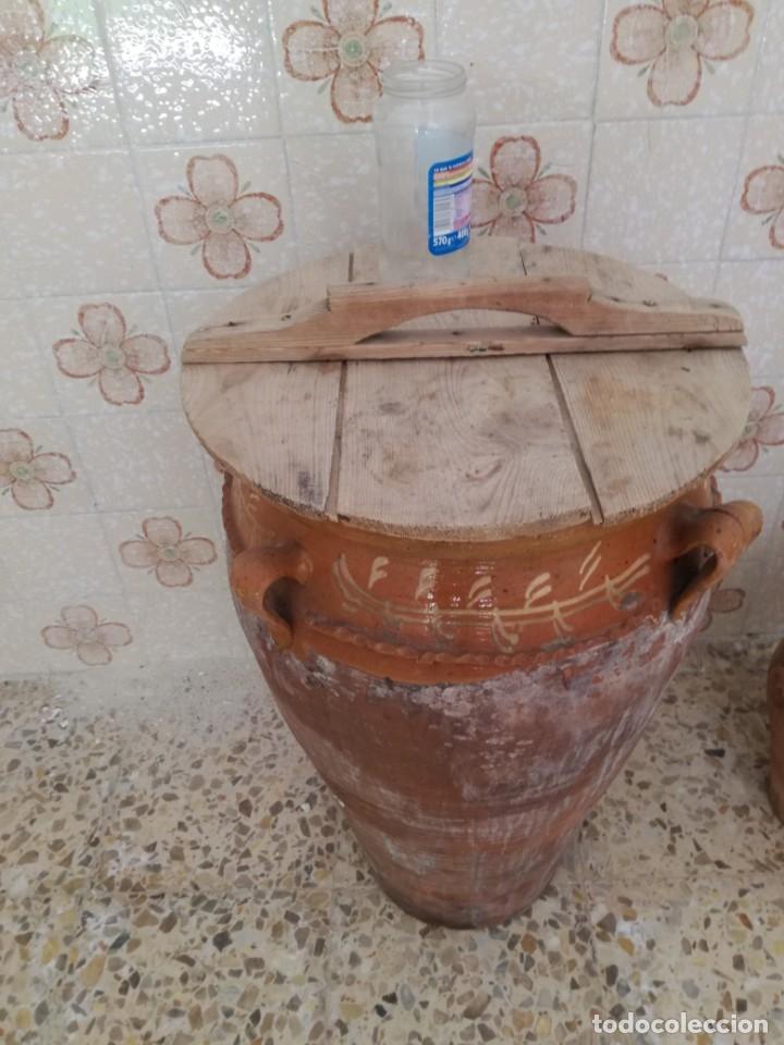 Antigüedades: ORZA O TINAJA DE MATANZA VIDRIADA CON TAPA. - Foto 3 - 176604802