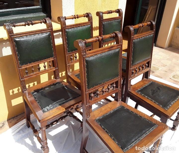 Antigüedades: 5 sillas Alfonsinas nogal y cuero. Años 20 o 30 - Foto 2 - 176612898