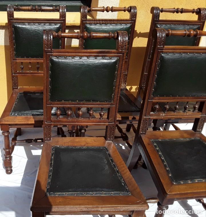 Antigüedades: 5 sillas Alfonsinas nogal y cuero. Años 20 o 30 - Foto 3 - 176612898