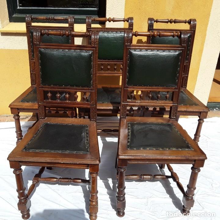 Antigüedades: 5 sillas Alfonsinas nogal y cuero. Años 20 o 30 - Foto 4 - 176612898