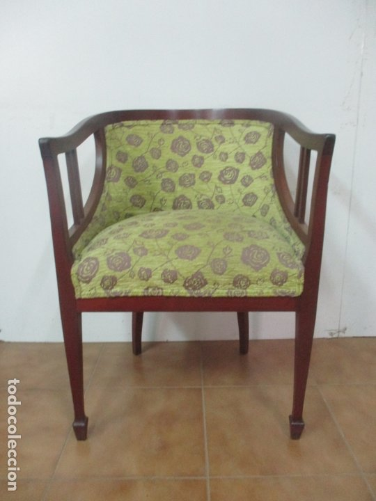 Antigüedades: Decorativo Sillón Calzador - Art Deco - Madera de Caoba - Tapicería Perfecta - Foto 3 - 176620368