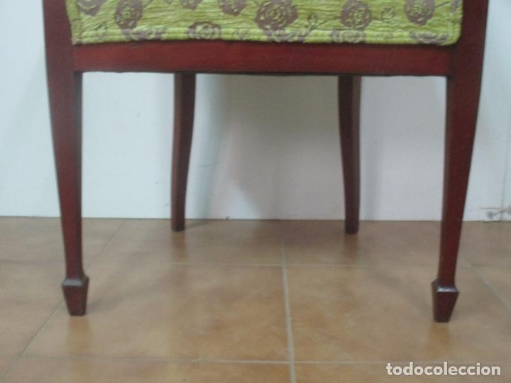 Antigüedades: Decorativo Sillón Calzador - Art Deco - Madera de Caoba - Tapicería Perfecta - Foto 4 - 176620368