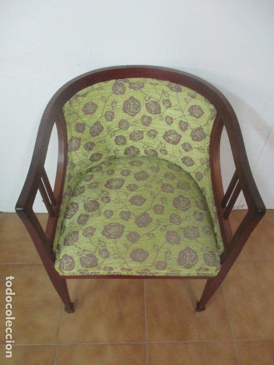 Antigüedades: Decorativo Sillón Calzador - Art Deco - Madera de Caoba - Tapicería Perfecta - Foto 5 - 176620368