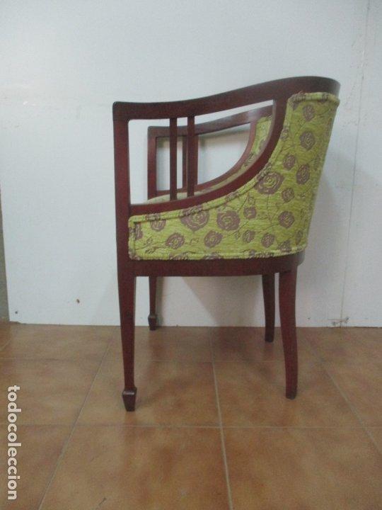 Antigüedades: Decorativo Sillón Calzador - Art Deco - Madera de Caoba - Tapicería Perfecta - Foto 7 - 176620368