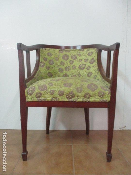 Antigüedades: Decorativo Sillón Calzador - Art Deco - Madera de Caoba - Tapicería Perfecta - Foto 12 - 176620368