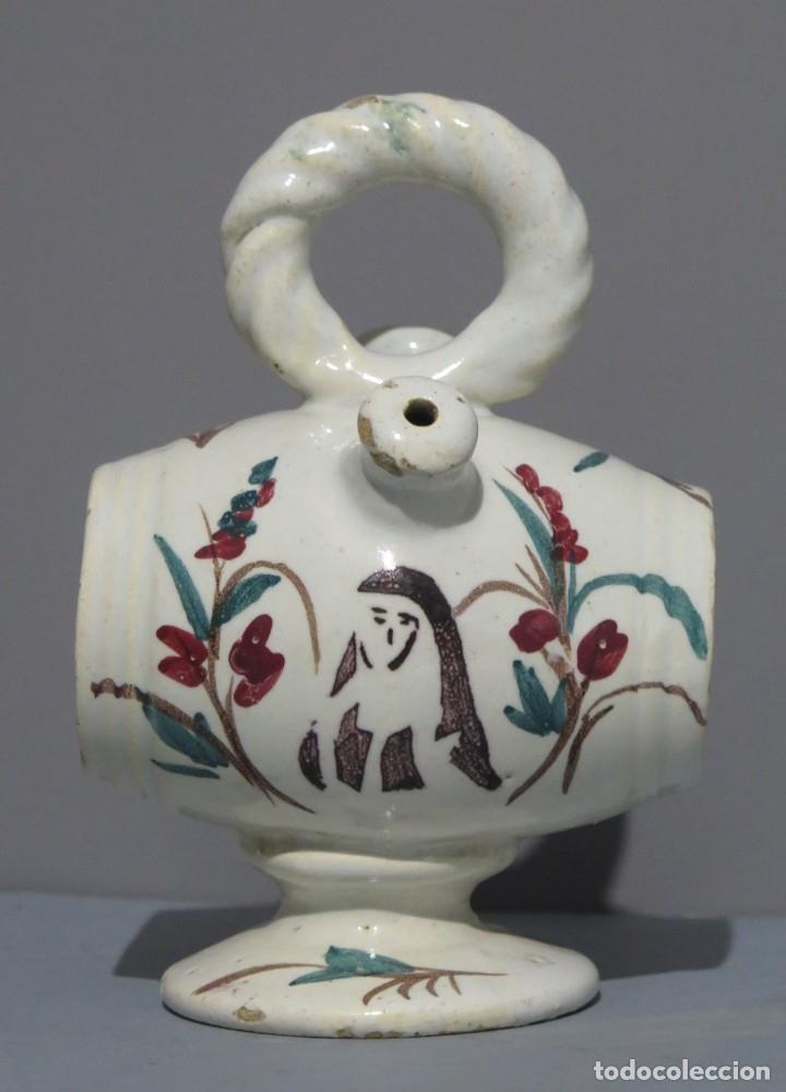 BOTIJO DE CERAMICA DE BARRIL. CON REPRESENTACION BEATA INES. MANISES. SIGLO XIX (Antigüedades - Porcelanas y Cerámicas - Manises)