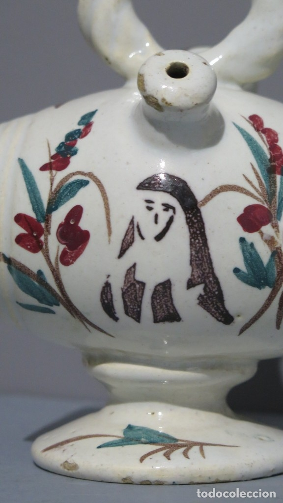 Antigüedades: BOTIJO DE CERAMICA DE BARRIL. CON REPRESENTACION BEATA INES. MANISES. SIGLO XIX - Foto 4 - 176645405