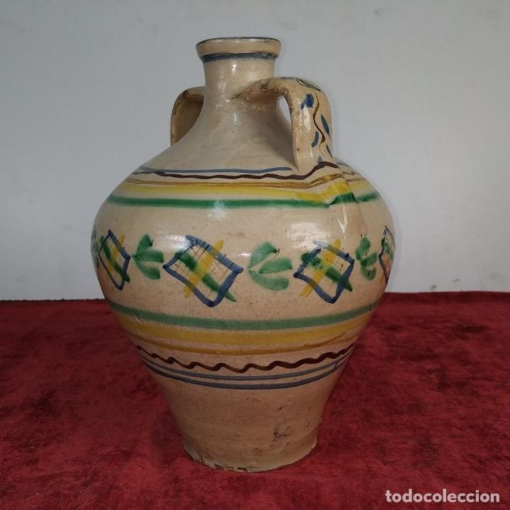 Antigüedades: JARRÓN DE DOS ASAS. CERÁMICA ESMALTADA. CATALUNYA. FIN SIGLO XIX - Foto 3 - 176673845