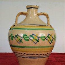 Antigüedades: JARRÓN DE DOS ASAS. CERÁMICA ESMALTADA. CATALUNYA. FIN SIGLO XIX. Lote 176673845