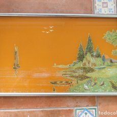 Antigüedades: BANDEJA ART DECO.CIRCA 1920. CRISTAL CON EXTRAORDINARIA PINTURA ORIENTAL.. Lote 34991119