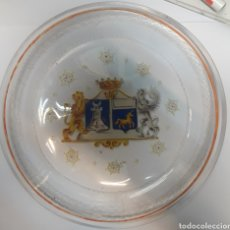 Antiguidades: PLATO DE CRISTAL ANTIGUO DEL SIGLO XVIII PINTADO 22C DIAMETRO. Lote 176680408