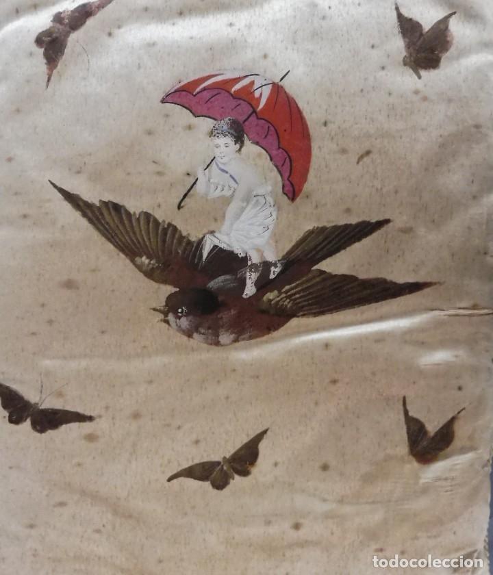 Antigüedades: ANTIGUA CARPETA PINTADA MANUALMENTE PARA ROPA S.XIX - Foto 3 - 176686974