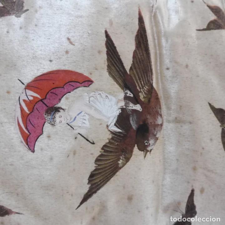 Antigüedades: ANTIGUA CARPETA PINTADA MANUALMENTE PARA ROPA S.XIX - Foto 5 - 176686974