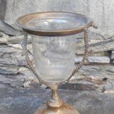 Antigüedades: CRISTAL SOPLADO CON SOPORTE. Lote 176702830