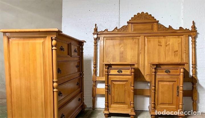 DORMITORIO PINO MACIZO (Antigüedades - Muebles Antiguos - Camas Antiguas)