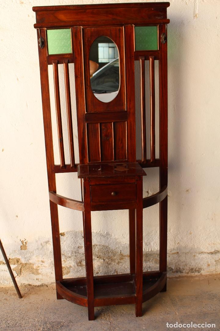 MUEBLE DE RECIBIDOR Y/O AUXILIAR DE TEKA (Antigüedades - Muebles Antiguos - Auxiliares Antiguos)