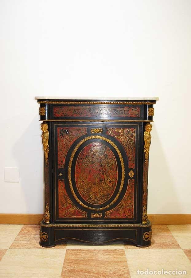 PRECIOSO MUEBLE ENTREDÓS RECIBIDOR BOULLÉ ESTILO NAPOLEÓN III (Antigüedades - Muebles Antiguos - Aparadores Antiguos)