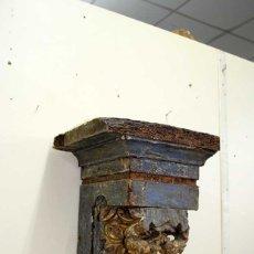 Antigüedades: ANTIGUA MÉNSULA PEANA REPISA DE PARED MADERA TALLADA. Lote 176722030