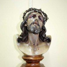 Antigüedades: FIGURA RELIGIOSA BUSTO CRISTO DE LIMPIAS EN PASTA DE OLOT. Lote 176722964