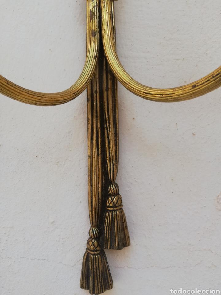 Antigüedades: Gran apliques lamparas de pared antiguas de bronce dorado estilo Luis XV Francia vintage años 60 - Foto 7 - 176727234