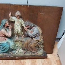 Antigüedades: SAN JOSE LA VIRGEN MARIA Y EL NIÑO JESUS YESO. Lote 176737068