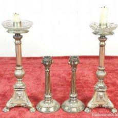 Antigüedades: CONJUNTO DE 4 CANDELABROS DE ALTAR. METAL PLATEADO. SIGLO XX. . Lote 176738668