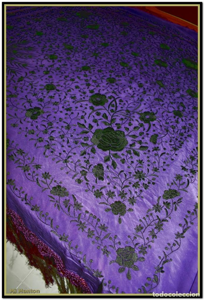 Antigüedades: Manton de Manila seda bordada a mano - Foto 2 - 176741487