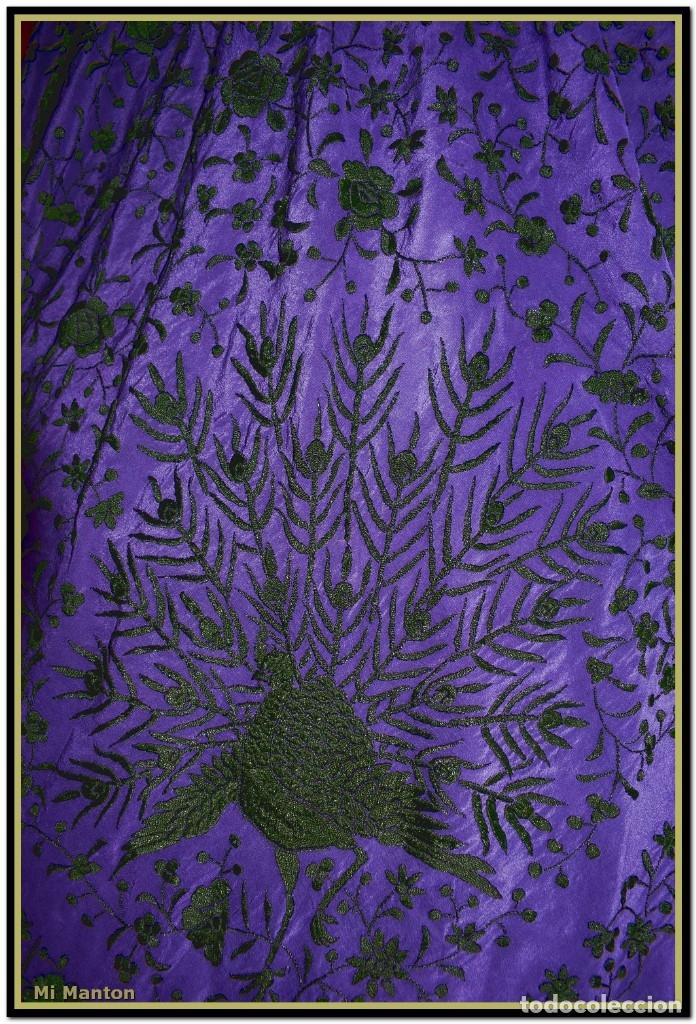 Antigüedades: Manton de Manila seda bordada a mano - Foto 4 - 176741487