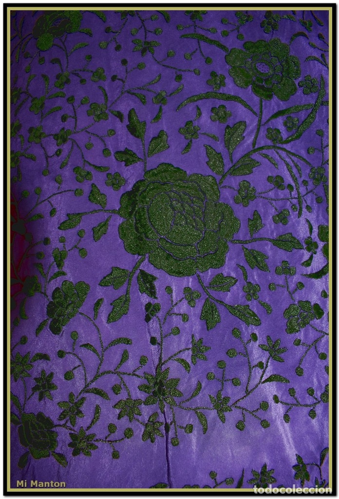 Antigüedades: Manton de Manila seda bordada a mano - Foto 5 - 176741487