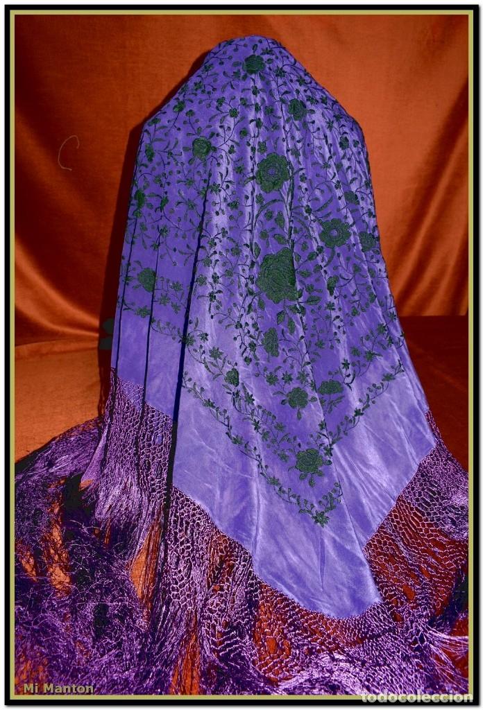 Antigüedades: Manton de Manila seda bordada a mano - Foto 6 - 176741487