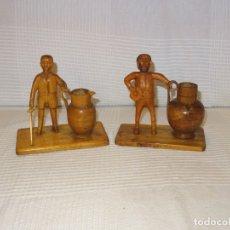 Antigüedades: ANTIGUA FIGURAS TALLA A MANO DE MADERA D.QUIJOTE Y SANCHO PANZA. Lote 176742548