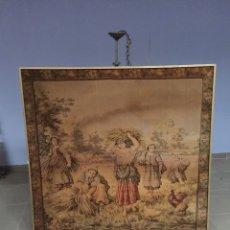 Antigüedades: GRAN TAPIZ ENMARCADO ANTIGUO S XIX . Lote 176767999