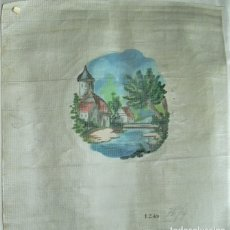 Antigüedades: ANTIGUA TELA DE CAÑAMAZO PARA BORDAR PAISAJE. Lote 176773439