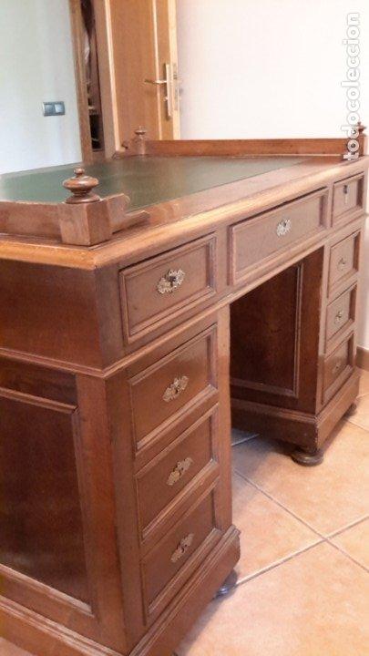 Antigüedades: Fantástico escritorio / despacho castellano con cuero - Foto 15 - 176781442