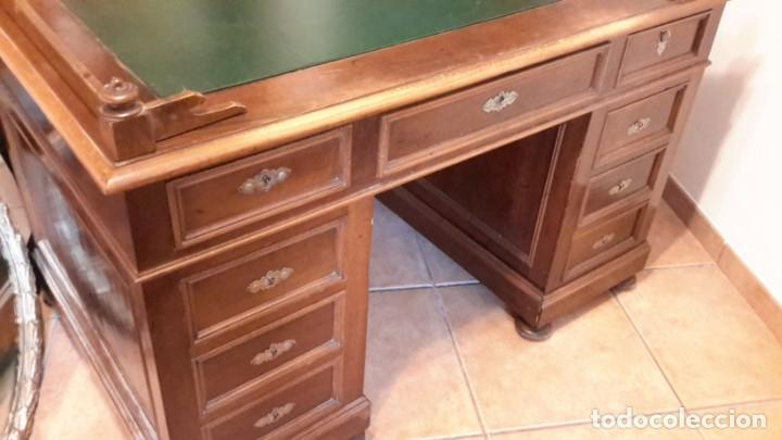 Antigüedades: Fantástico escritorio / despacho castellano con cuero - Foto 11 - 176781442