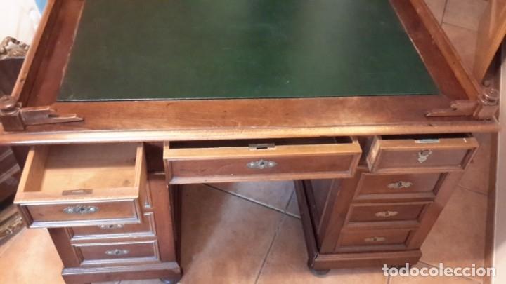 Antigüedades: Fantástico escritorio / despacho castellano con cuero - Foto 12 - 176781442