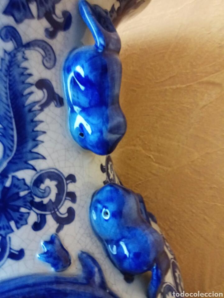 Antigüedades: Jarrón antiguo porcelana azul 62 cm - Foto 2 - 176782030
