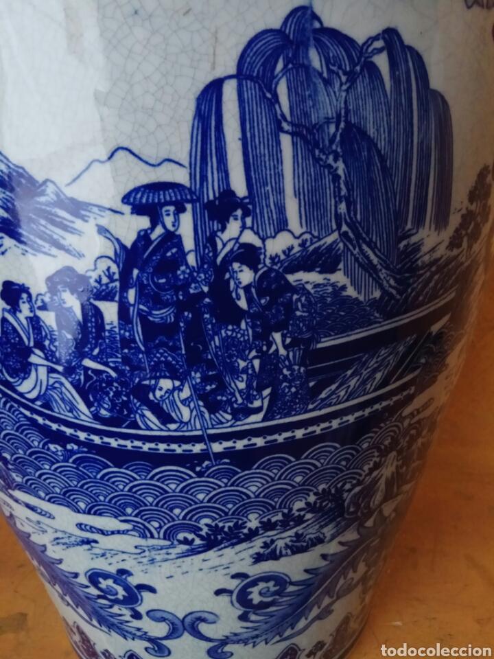 Antigüedades: Jarrón antiguo porcelana azul 62 cm - Foto 3 - 176782030