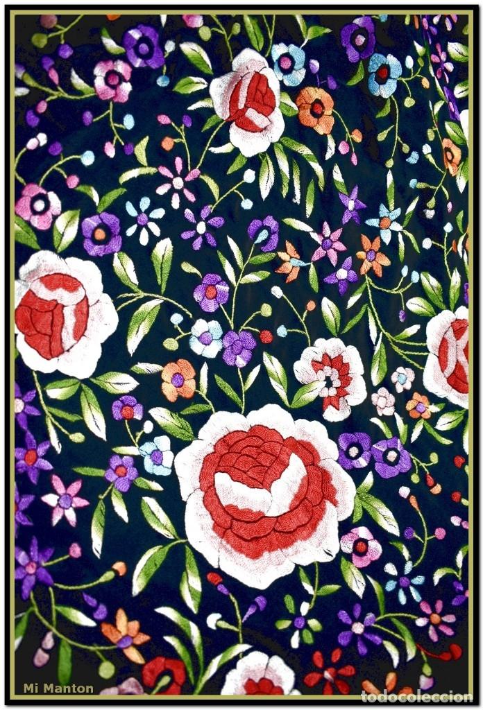 Antigüedades: Mantón de Manila seda bordado a mano 150 x 150 cm mas enrejado y fleco - Foto 5 - 176791502