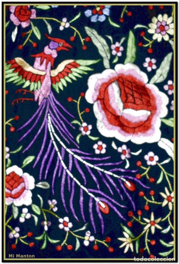 Antigüedades: Mantón de Manila seda bordado a mano flores y pájaros - Foto 2 - 176791605