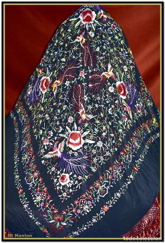 Antigüedades: Mantón de Manila seda bordado a mano flores y pájaros - Foto 5 - 176791605