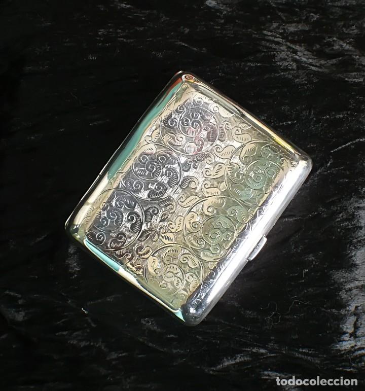 Antigüedades: Antigua pitillera inglesa de plata maciza Art Deco. 1909. Birmingham - Foto 3 - 176810800