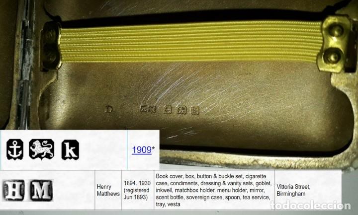 Antigüedades: Antigua pitillera inglesa de plata maciza Art Deco. 1909. Birmingham - Foto 4 - 176810800