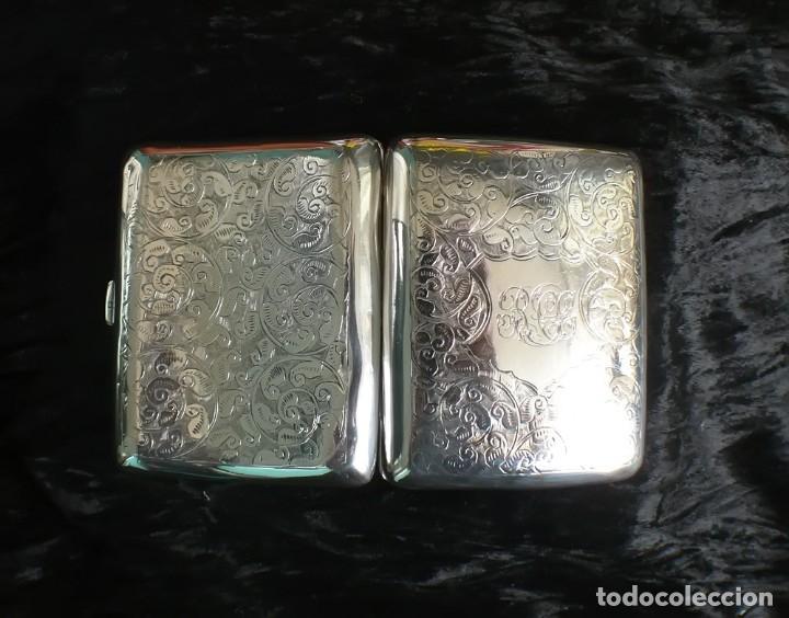 Antigüedades: Antigua pitillera inglesa de plata maciza Art Deco. 1909. Birmingham - Foto 7 - 176810800