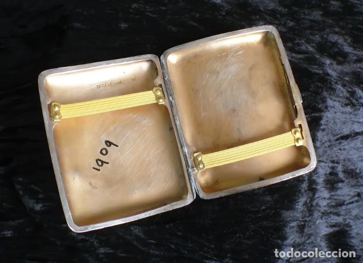 Antigüedades: Antigua pitillera inglesa de plata maciza Art Deco. 1909. Birmingham - Foto 8 - 176810800