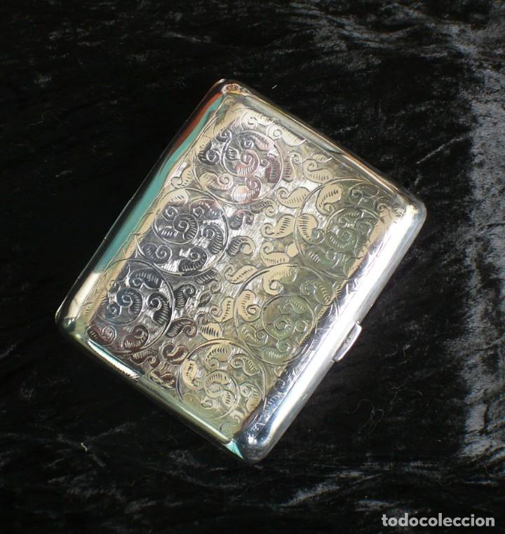 Antigüedades: Antigua pitillera inglesa de plata maciza Art Deco. 1909. Birmingham - Foto 9 - 176810800