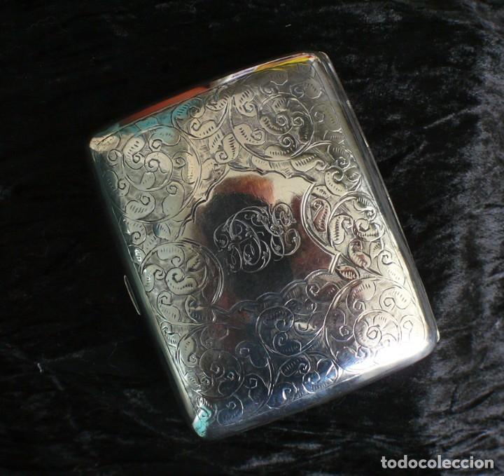 Antigüedades: Antigua pitillera inglesa de plata maciza Art Deco. 1909. Birmingham - Foto 12 - 176810800